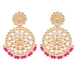 I Jewels Gold Plated Kundan Chandbali Earrings
