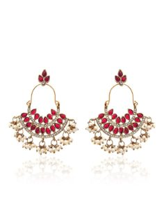 Zaveri Pearls Pearl Ruby Dangle & Drop Earrings For Women
