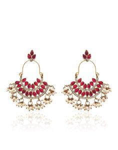 Zaveri Pearls Pearl Ruby Dangle & Drop Earrings For Women