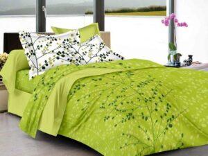 HUESLAND Double Bedsheet Cotton Green